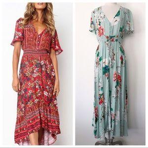 Boho Floral Maxi Dress Hi Low Short Sleeve 14 XL